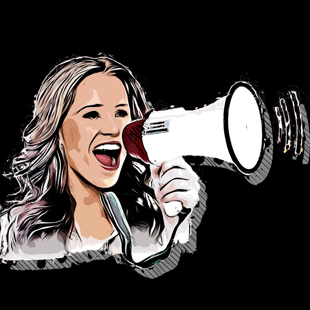 stemgebruik, vrouw met megafoon